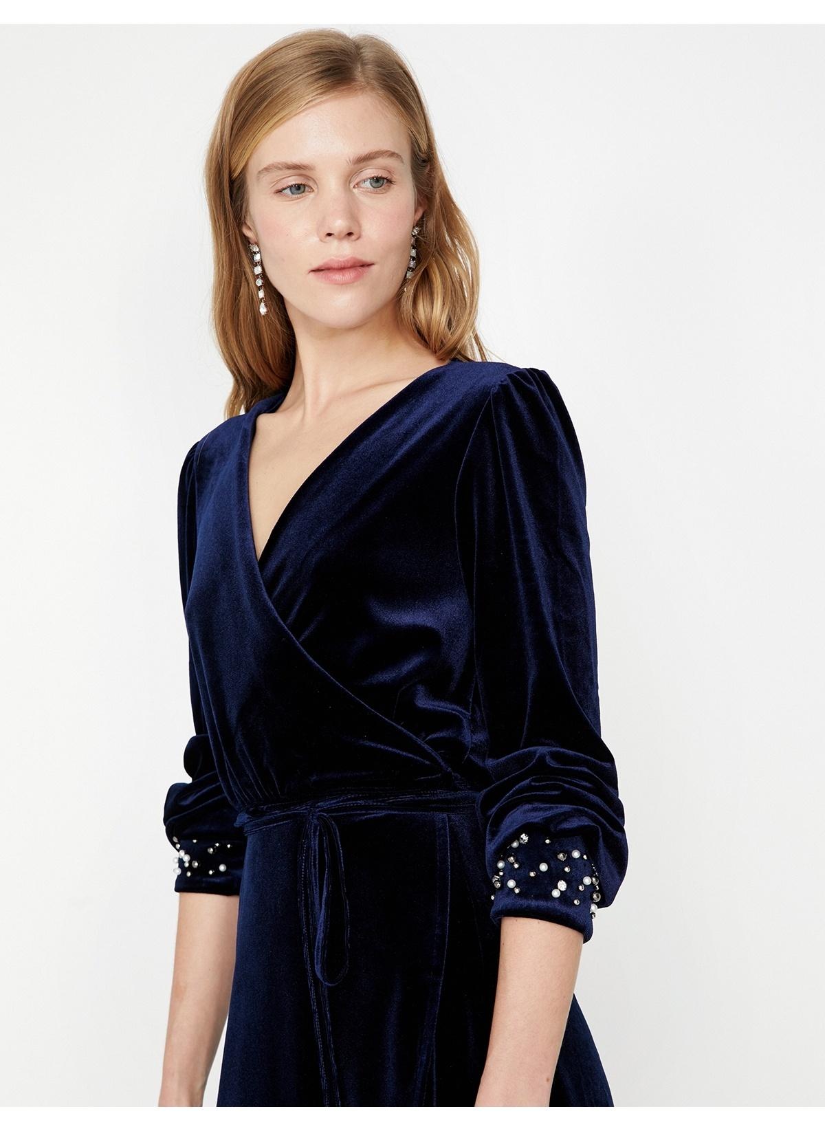 722b0209d6146 Koton Kadın Kadife Elbise Lacivert | Morhipo | 22068312